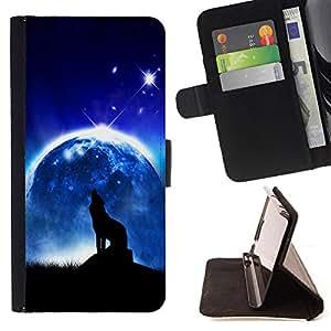 - Wolf On the Moon - - Monedero PU titular de la tarjeta de cr?dito de cuero cubierta de la caja de la bolsa FOR HTC Desire 820 Retro Candy