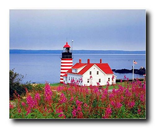 Wall Decor Maine West Quoddy Head Lighthouse Seascape Scenery Nature Art Print Poster (16x20)