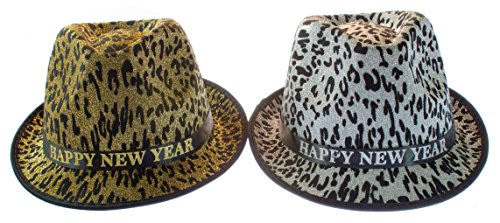 [Set of 2 (Two) Happy New Year Fedora Animal Print] (Happy New Year Costumes)