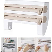 Kitchen Roll Dispenser for Foil Cling Film and Paper Towel, lesgos Triple Paper Dispenser Wall Mounted Cling Film Tin Foil Towel Paper Holder Rack 4-in-1