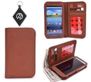 Brown Universal Unisex Woman And Mens Wallet / Phone Cover fits Nokia Lumia 520 + NuVur Key Chain (SMENBFN1)