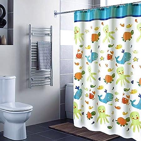 ufriday Cartoon Ocean cortina de ducha de poliéster repelente al ...