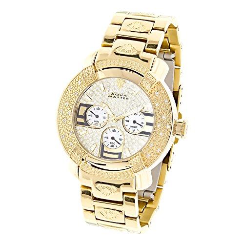 Aqua Master Diamond 14k Yellow Gold Finish 3 Dial Men Father Day Gift Watch JOJO 14k Yellow Gold Wrist Watch