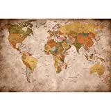 best world map wall murals Poster used look – wall picture decoration Globe Continents Atlas World Map Earth Geography retro old school vintage map | Wallposter Photoposter wall mural wall decor by GREAT ART