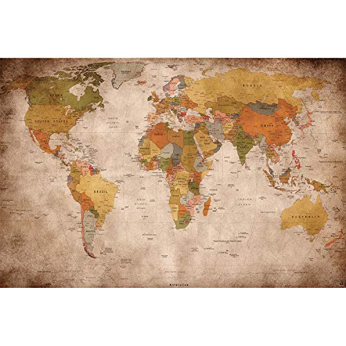 Great Vintage Photo - GREAT ART XXL Poster World map photo wallpaper vintage retro motif - XXL world map mural - wall art decoration 55 Inch x 39.4 Inch