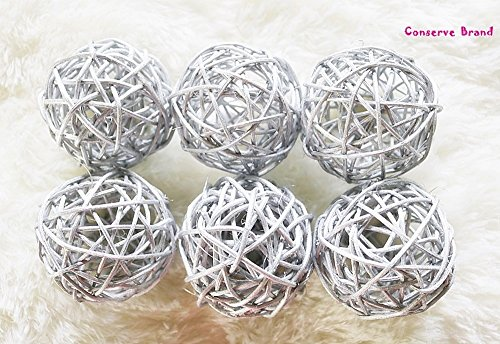Thailand's Gifts : Silver Medium Rattan Ball, Wicker Balls, DIY Vase And Bowl Filler Ornament, Decorative spheres balls, Perfect For Decoration And Party 3-3.5 inch, 6 Pcs (Free Gift From Conserve) by Conserve's Rattan Ball
