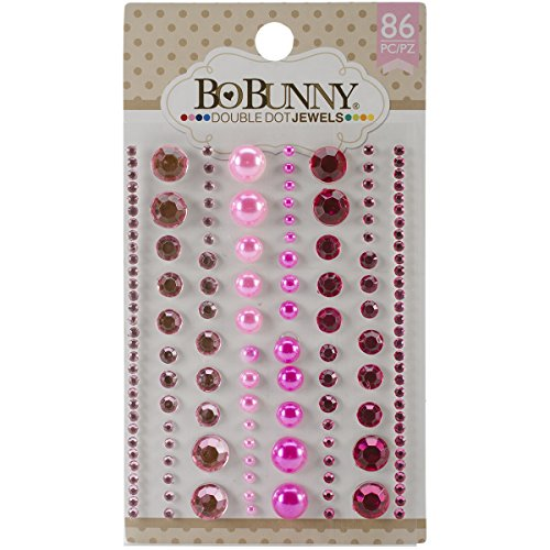 Bo Bunny Double Dot Jewels (86 Pack), Think Pink Bo Bunny Jewels