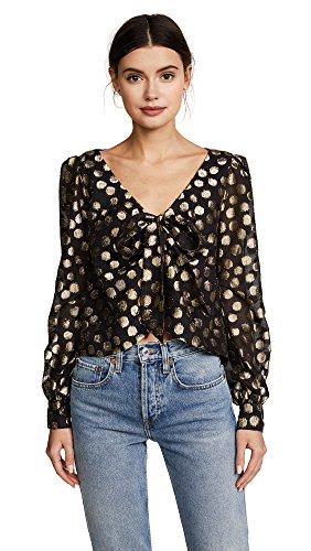 For Love & Lemons Women's Lottie Tie Front Blouse, Gold Dot, Medium by For Love & Lemons (Image #1)