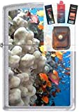 Zippo 0751 Coral Reef Fish Chrome Lighter + Fuel Flint Wick Pouch Gift Set