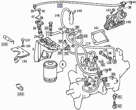 Amazon Com Mercedes Om605 Om606 Diesel Fuel Filter Hose Pipe Line