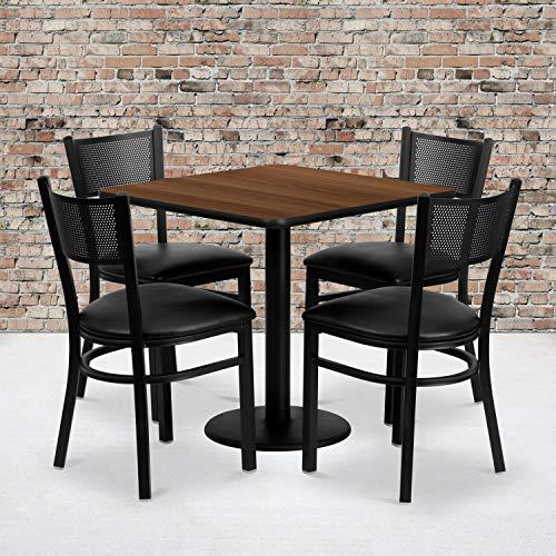 Flash Furniture 30 Square Walnut Laminate Table Set with 4 Grid Back Metal Chairs – Black Vinyl Seat