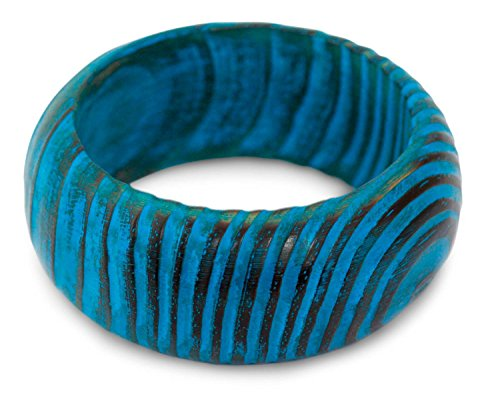 NOVICA Turquoise Blue Wide Mango Wood Bangle Bracelet Hand Painted 'Ocean Empress', 7.75