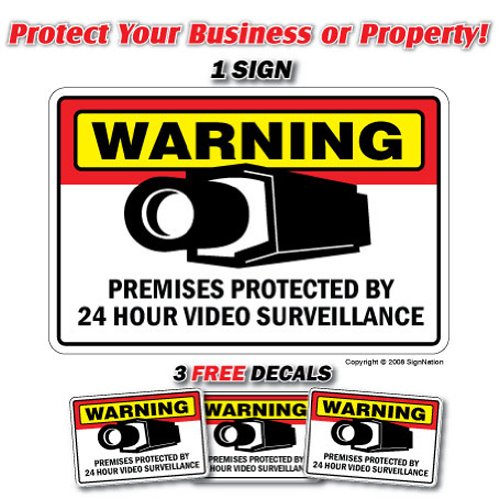Security Surveillance Signs 1 Sign & 3 Free Decal Video | Indoor/Outdoor | Business, Garages, Home, Offices | SignMission Wall Plaque