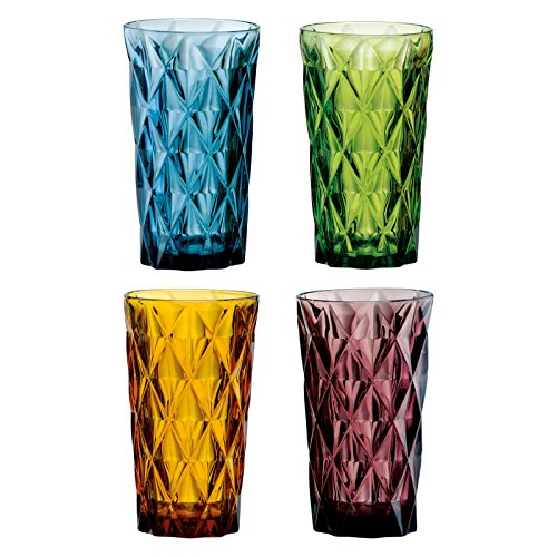 (Artland High Gate 15 oz Assorted Colors Highball in a Gift Box (Set of 4), Small, Glass )