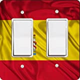 Rikki Knight 1686 Double Rocker Spain Flag Design Light Switch Plate