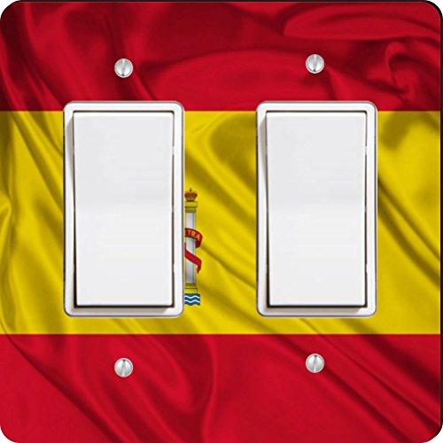 Rikki Knight 1686 Double Rocker Spain Flag Design Light Switch Plate by Rikki Knight
