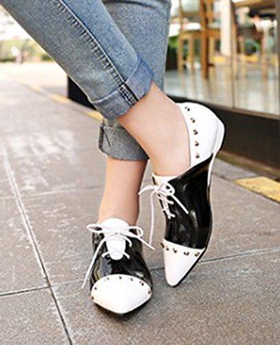 Aisun Kvinna Elegant Dubbade Färg Kontrast Spetsig Tå Klä Snörning Platt Pumpar Flats Shoes Vita