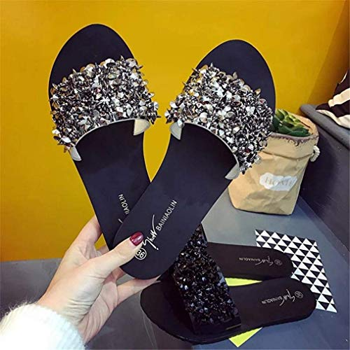 Plat Peep Femmes Chaussures 2 Summer Diamante Jeweled DamesPlage Toe Ouvert Wide Glitter UkArgent Fit 7coloréArgent6 Slipper Bling Taille Sparkly Sandals Pour Qiusa Strass BeCordx