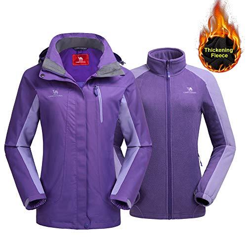 Ski Jacket Winter Jacket Waterproof 3 in 1 Mountain Coat Windproof Hooded with Inner Warm Fleece Coat Lilac Purple ()