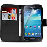 Samsung Galaxy S4 Mini i9190 PU Leather Wallet Flip Case Cover Pouch + Screen Guard & Cleaning Cloth - Black