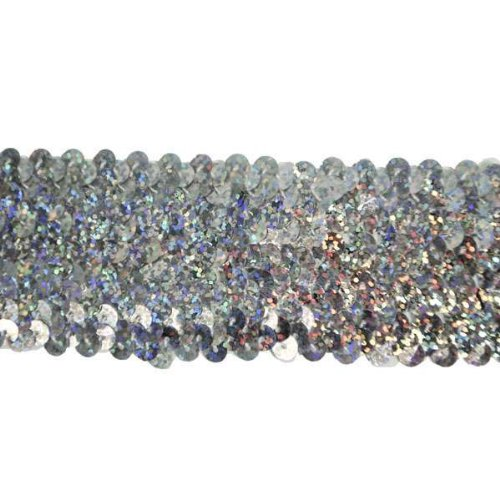 Expo International 10-Yard of 5-Row Starlight Hologram Stretch Sequin Trim, 1-3/4-Inch, Silver by Expo International Inc.
