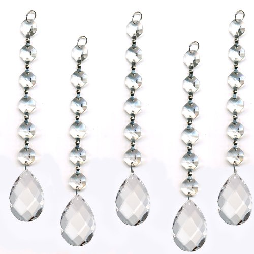 Magnificent Ornament Diamond Hanging Crystal Garland Wedding Strand with Almond Pendant Accent By CrystalPlace