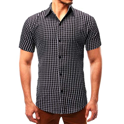 - YOcheerful Men's Summer Tops Hot Slim Casual Striped Button Down Short-Sleeved Shirts Daily Loose Tops Work Blouses(Black, M)
