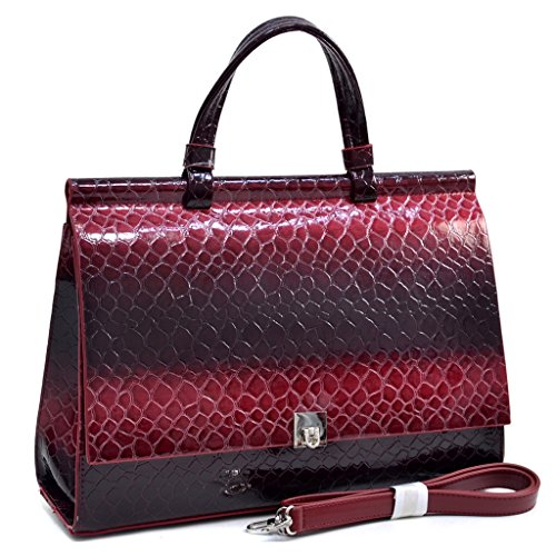 Croco Embossed Leather (Dasein Women's Mini Patent Croco Embossed Faux Leather Briefcase Handbag Satchel Handbag)