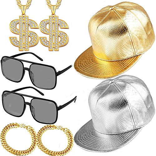 8 Pieces 80s 90s Hip Hop Costume Set Rapper Outfits,2 Adjustable Flat Brim Snapback Baseball Cap 2 Hip Hop DJ Sunglasses 2 Gold Chain with Dollar Sign Pendant 2 Bracelet for Cool Rapper Outfits
