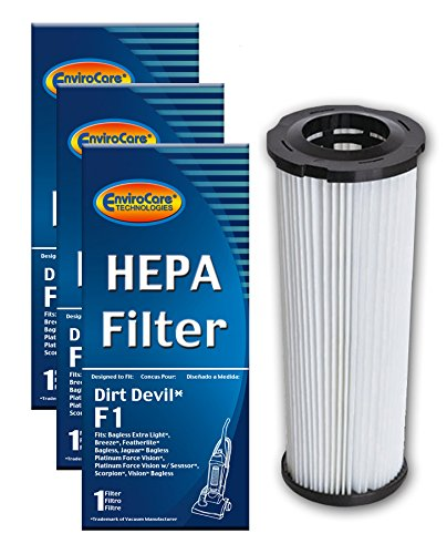 - EnviroCare Replacement Vacuum HEPA Filters for Royal Dirt Devil Type F1 Bagless Uprights 3 Filters