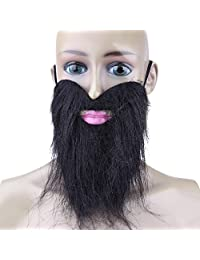 Namivad Fake Beard Mustache Halloween Costume Party Facial Dress Up Game Black Mustache Beard Funny