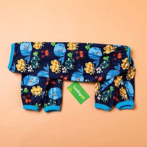 LovinPet Pijamas para perros grandes / Jersey elástico estampado de punto con estampados de la familia marina / Pijamas ligeros para mascotas / Pijamas para perros de cobertura completa Mono para perros grandes 3