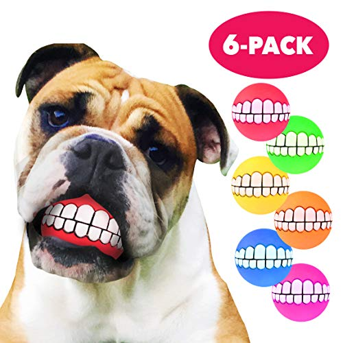 HAWWWY Funny Dog Balls – 6 Pack – Squeaky Dog Toys - Smile Teeth Dog Ball – Durable Long Lasting Thermo Plasticized Rubber – Nontoxic Eco Friendly Dog -