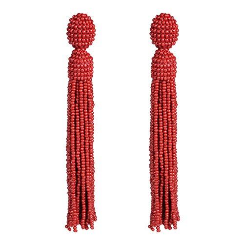 Bonnie Handmade Long Fringe Tassel Dangle Glass Seed Bead Drop Earrings 4