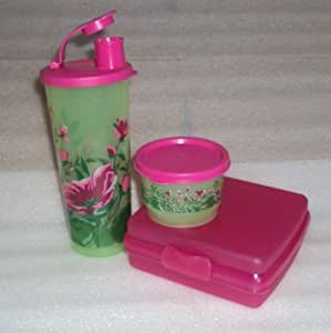 Tupperware Pink Lunch Box Set, Sandwich Keeper, Snack Cup, Tumbler by Tupperware