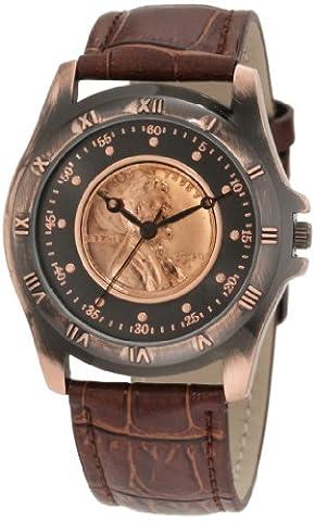 August Steiner Men's CN001C-AS Round Wheat Penny Antique Copper Collectors Coin Watch (Men Antique Watch)