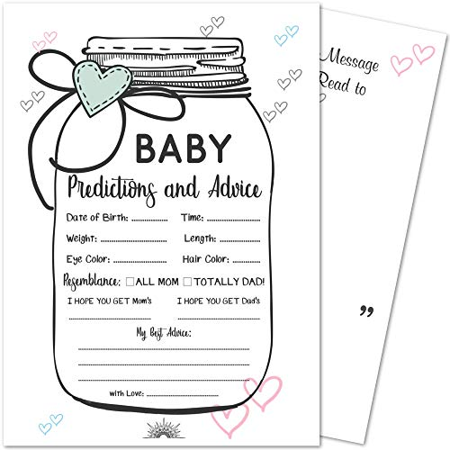 (50 Baby Shower Mason Jar Prediction and Advice Game Cards | Gender Neutral, Boy, Girl, and Gender Reveal Themes | Best Wishes and Favor Keepsake Message Area for Mom and)