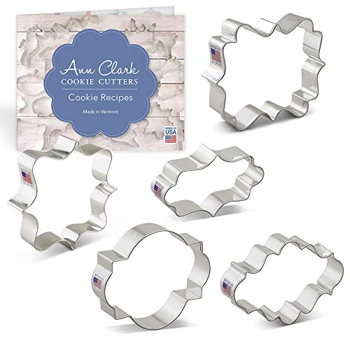 - Plaque/Frame Cookie Cutter Set with Recipe Booklet - 5 piece - Square Plaque, Oval Plaque, Photo Plaque, Long Fancy Plaque and LilaLoa's Square Plaque - Ann Clark - USA Made Steel