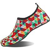 NINGMENG Aqua Socks Beach Water Shoes Barefoot Yoga Socks Quick-Dry Surf Swim Shoes for Women Men (Color Block, 40/41EU)
