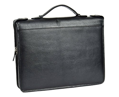 Conference Folio Handle Case With Leather Black Folder Document Real Grab Hl49 qEwW7IHW