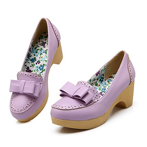 AmoonyFashion Womens Soft Material Round Closed Toe Kitten-Heels Pull-on Solid Pumps-Shoes Purple Pz05era