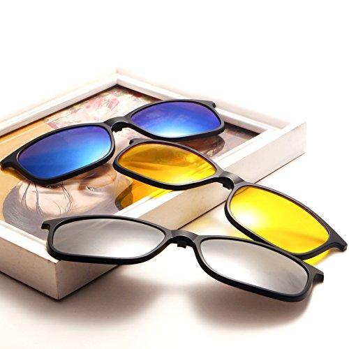 Hombres Mujeres de TIMWILL Gafas Driving 2264a on 5Pcs Marco Unisex de Lentes sol UV400 Night plástico TR90 de protección sol Polarizado Clip magnético gafas qx4vr1nzwq