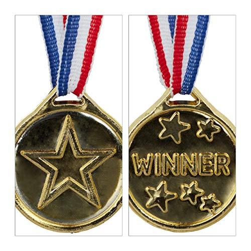 Plastik 3,8 cm /Ø mit Band Medaillenset Auszeichnung f/ür Siegerehrung Gold Relaxdays Goldmedaille Kinder 24er Set