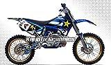 Kungfu Graphics Rockstar Custom Decal Kit for Yamaha YZ125 YZ250 1996 1997 1998 1999 2000 2001, Blue White Black