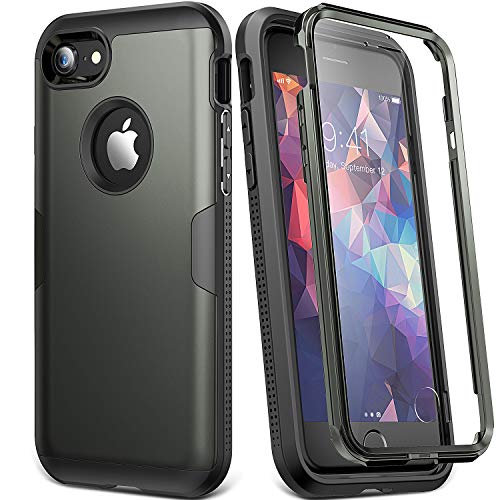 YOUMAKER Case for iPhone 8 & iPhone 7, Full Body Rugged with Built-in Screen Protector Heavy Duty Protection Slim Fit Shockproof Cover for Apple iPhone 8 (2017) 4.7 Inch - Gunmetal/Black