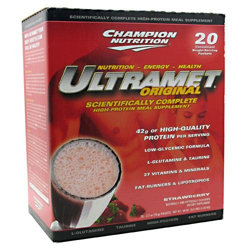 Champion Nutrition Ultramet Packets - Ultramet Original 20 - 2.7 oz (76 g) Packets 54 oz (1.53 KG) Strawberry Meal Re ( Multi-Pack)