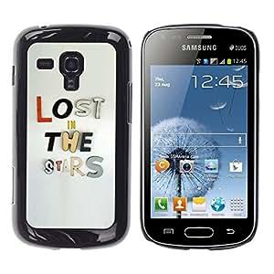 TopCaseStore / la caja del caucho duro de la cubierta de protección de la piel - Lost Stars Text Grey Metal Inspirational - Samsung Galaxy S Duos S7562