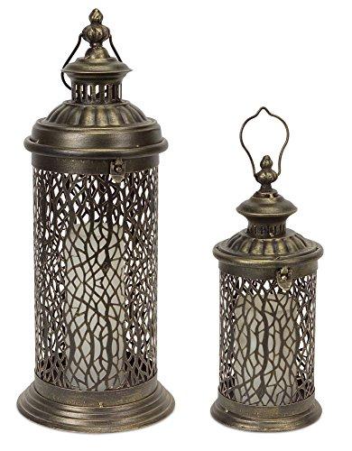 Decorative Metal Lanterns with Filgree Detail (Set of 2)