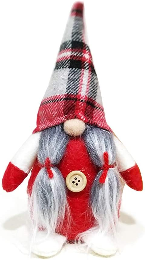 Christmas Swedish Gnome Doll Ornaments Grid Hat Figurine Holiday Party Decor