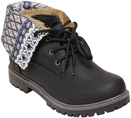 Girls Boys Kids Youth Flat Lace up Fold Down Comfy Mid-Calf Cuff Military Combat Boot Shoes